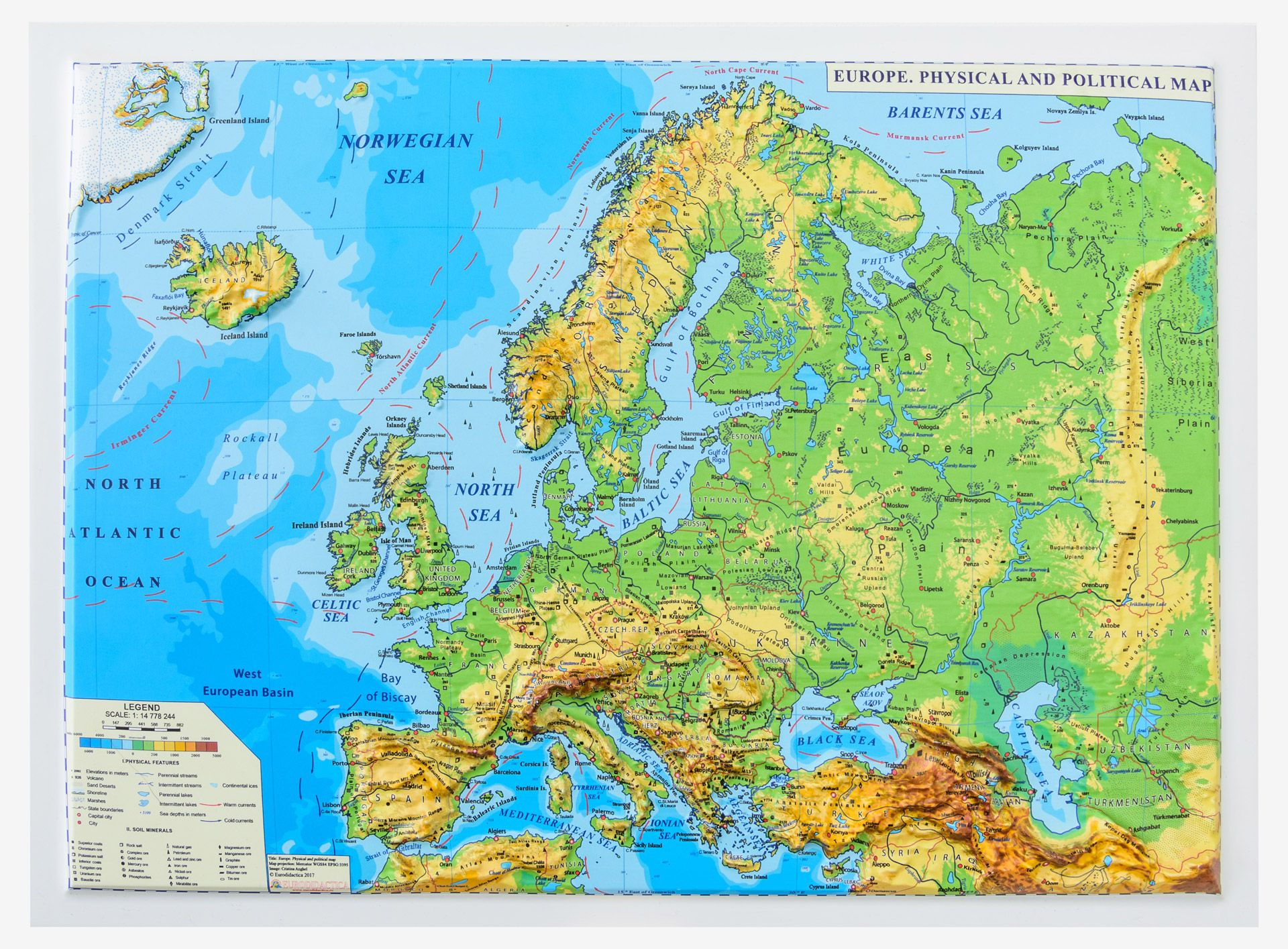 Europe. Physical and Political Map (3D projection, Mercator ...