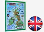The United Kingdom and Ireland. Raised Relief Map in English (3D projection)