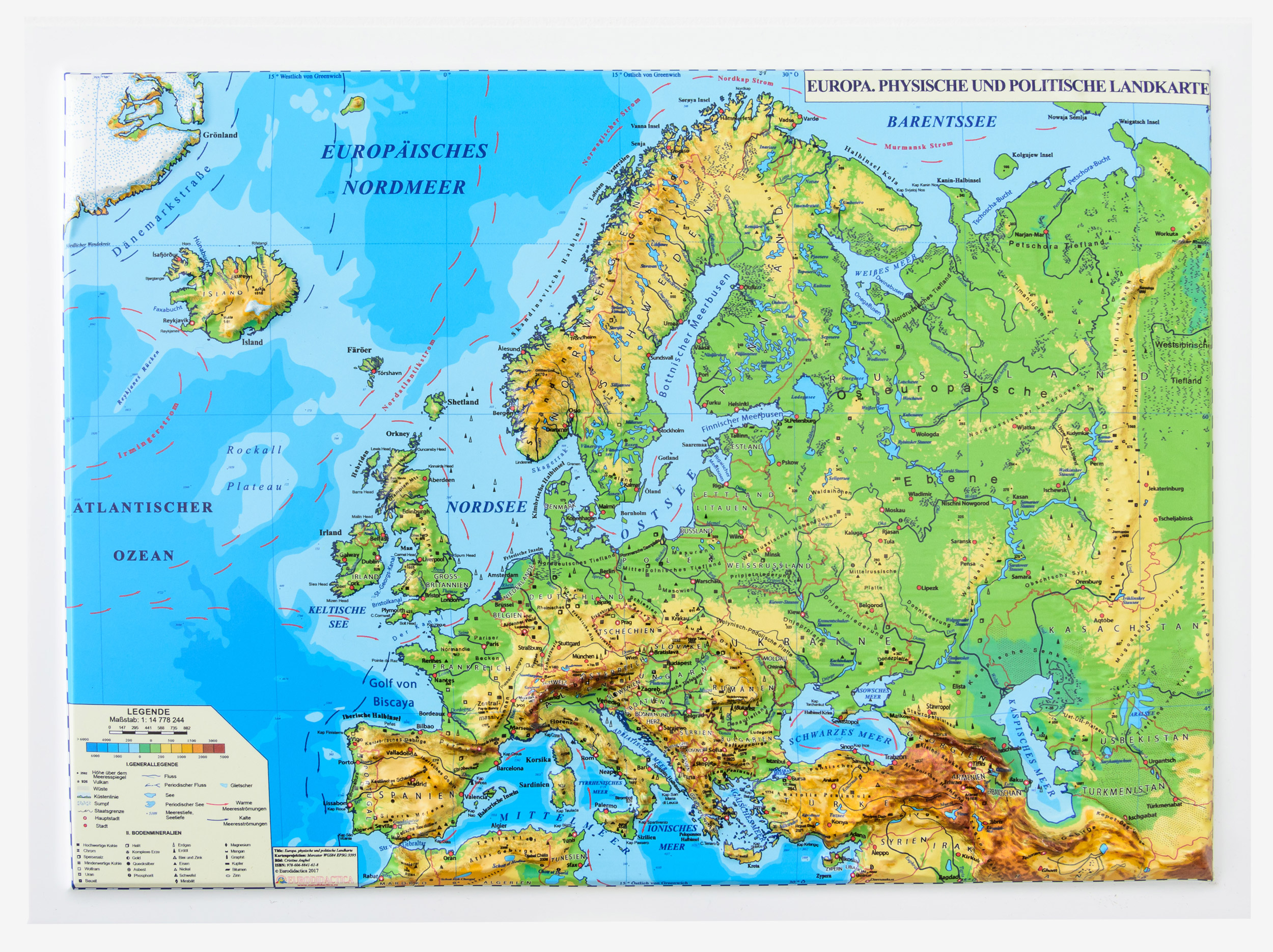Europe Physical And Political Map 3d Projection Mercator